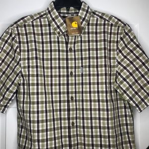 New Carhartt Mens Relaxed Fit Short Sleeve Plaid M